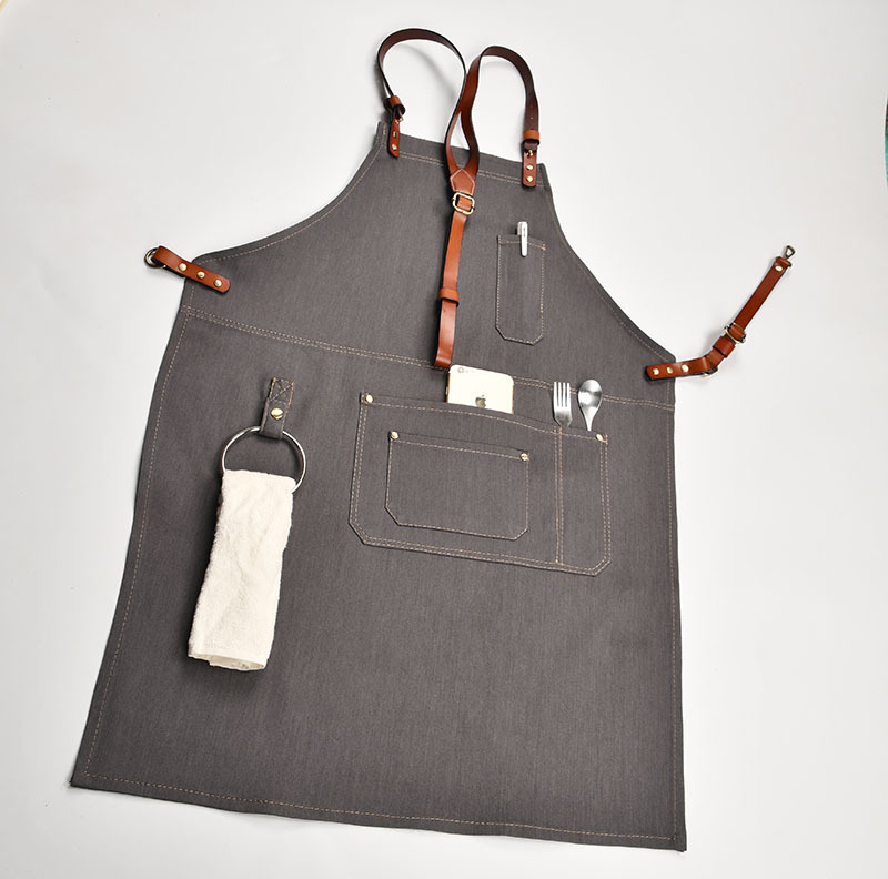 Denim Kitchen Cooking Apron with Adjustable Cotton Strap Large Pockets Blue Barista Men and Women Homewear - 3