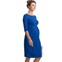 Spring Autumn Knee Length Maternity Dress for Pregnant Women Lycra Pregnancy Clothes Blue Gray Office Vestidos for Working Mommy
