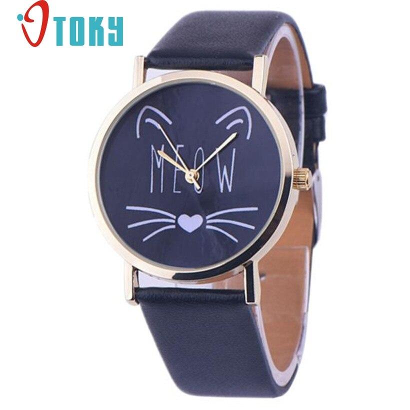 CREATIVE Watch Women Luxury Black colorful Leather Band Analog Quartz Vogue Wrist Watches Quartz Watch relogio
