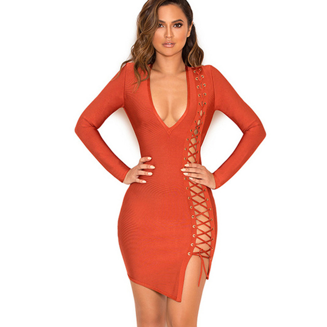 ea7cc57e804 2017 Winter Sexy Party Fashion Nova Evening Long Sleeve Plunge V Neckline  Side Slit Mini Rayon Bandage Bodycon Lace Up Dress