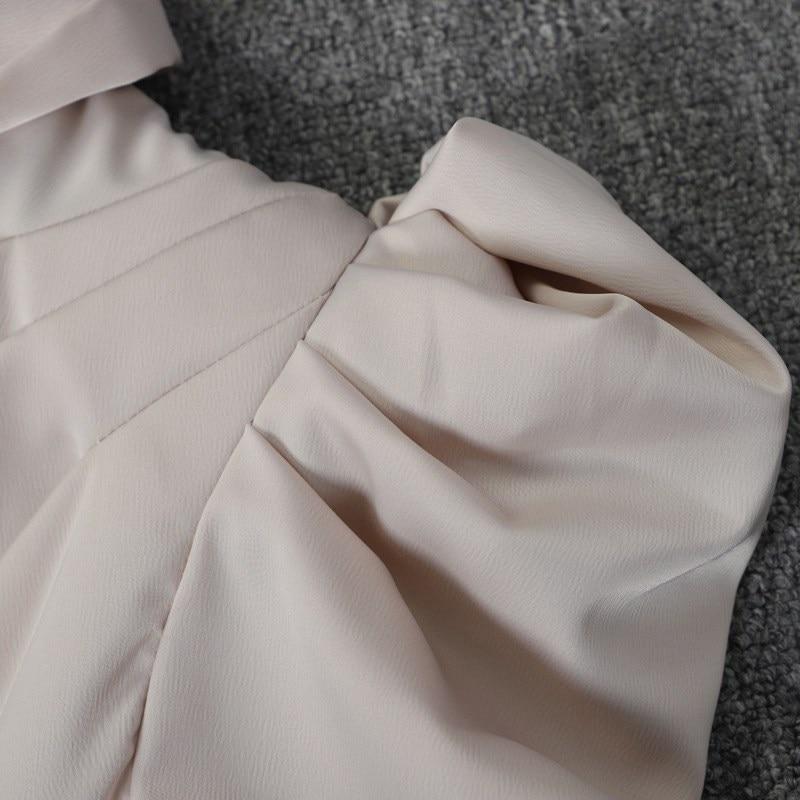 De Pour burgundy Shrug Asymétrique Volants Roulé Meilleur À Épaule Soie En Robe Piste Black Qualité Fête Satin 2019 beige Lacets Joydu Femmes Col qBIZB