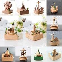 Accessoires de décoration pour la maison, Vintage de noël, Kawaii, cadeau danniversaire, rétro, boîte à musique en bois, carrousel, boîtes à musique avec manivelle à main