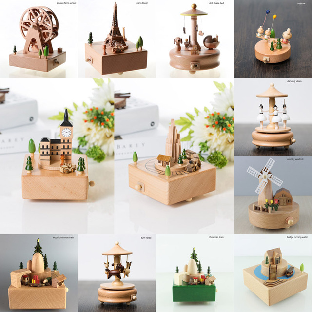 Home Decor Accessories Kawaii Vintage Chirstmas New Year Retro Birthday Gift Wooden Music Box Carousel Musical Boxes Hand Crank