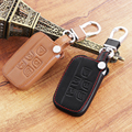 Car styling, genuine leather car key cover Fit  For Range Rover Evoque Discovery 3 4 Land Rover Free Dander 2 3  JAGUAR XE XF