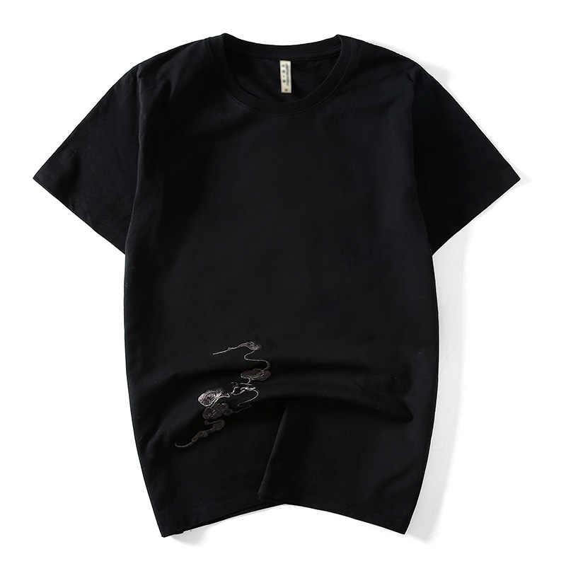 Китайский стиль 2019, брендовая хлопковая футболка с коротким рукавом и вышитым драконом, облегающая Мужская черная футболка с круглым вырезом, модные мужские футболки