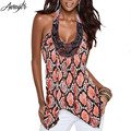 Awaytr Vintage Print Asymmetry T-shirts Fashion Elegant Women's Sleeveless Halter Tops 2016 Summer Backless IIrregular Shirts