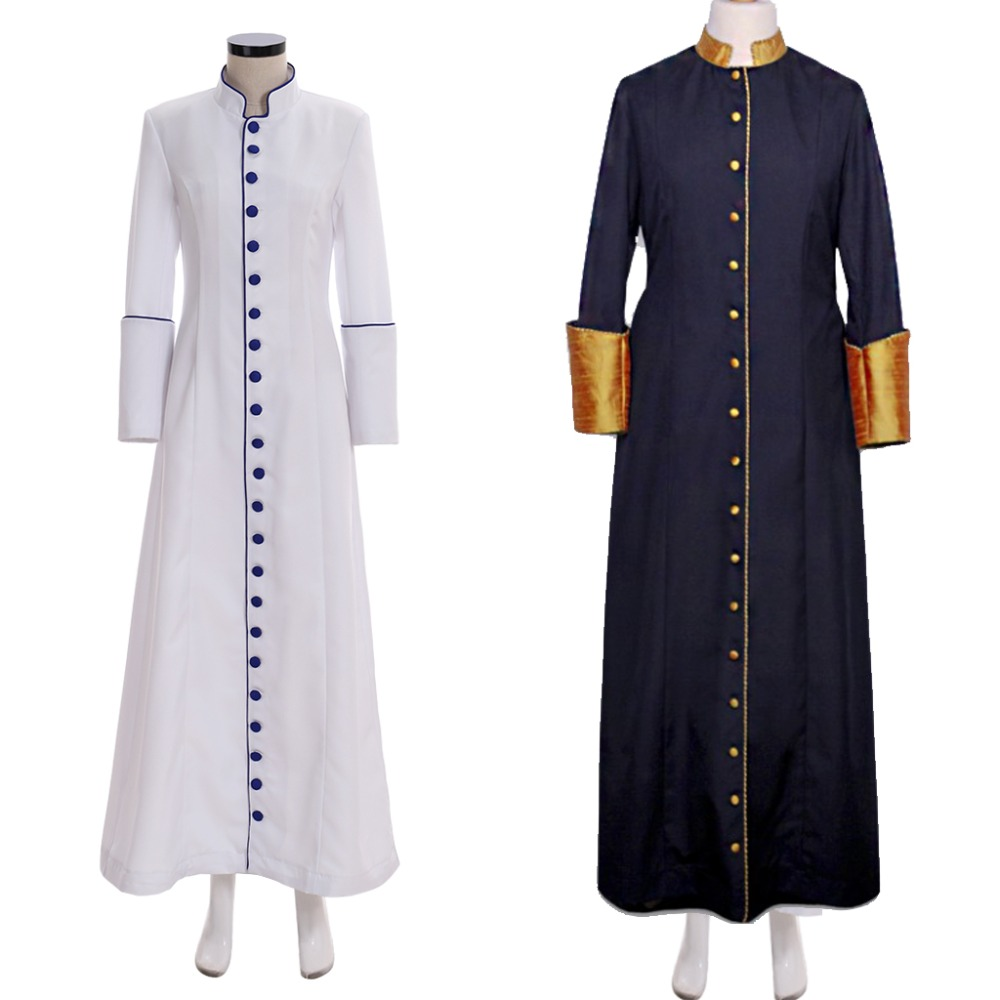 Cosplaydiy Custom Made Pastors Cassock With Cuffs Womens Cassock Robe Costume Jacket Coat L320