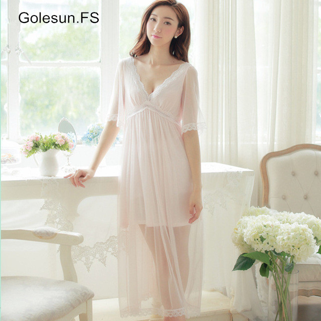 Summer Elegant Sleepwear Romantic bridesmaid Ladies Sexy Lace Home Dress peignoir wedding Long   Nightgown     Sleepshirts   18705