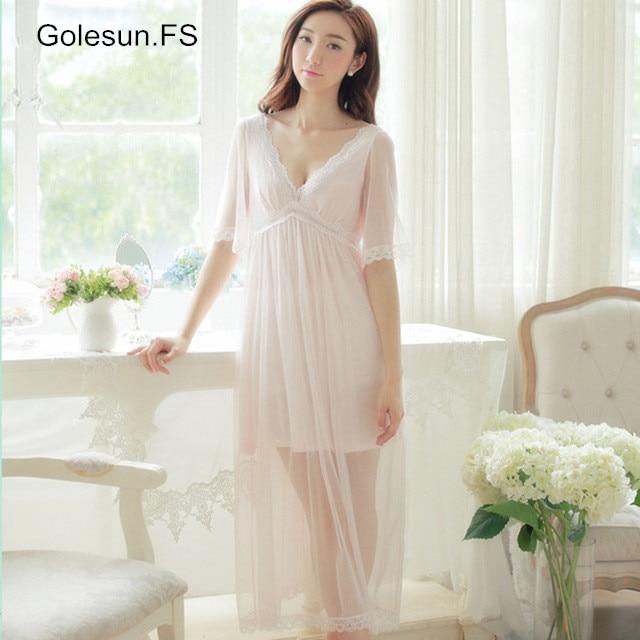 Summer Elegant Sleepwear Romantic bridesmaid Ladies Sexy Lace Home Dress peignoir wedding Long   Nightgown     Sleepshirts   18705