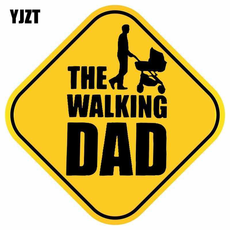 YJZT 15,4 см * 15,4 см ходьба папа ребенок на борту наклейка милые Автомобильная наклейка из ПВХ 12-40190