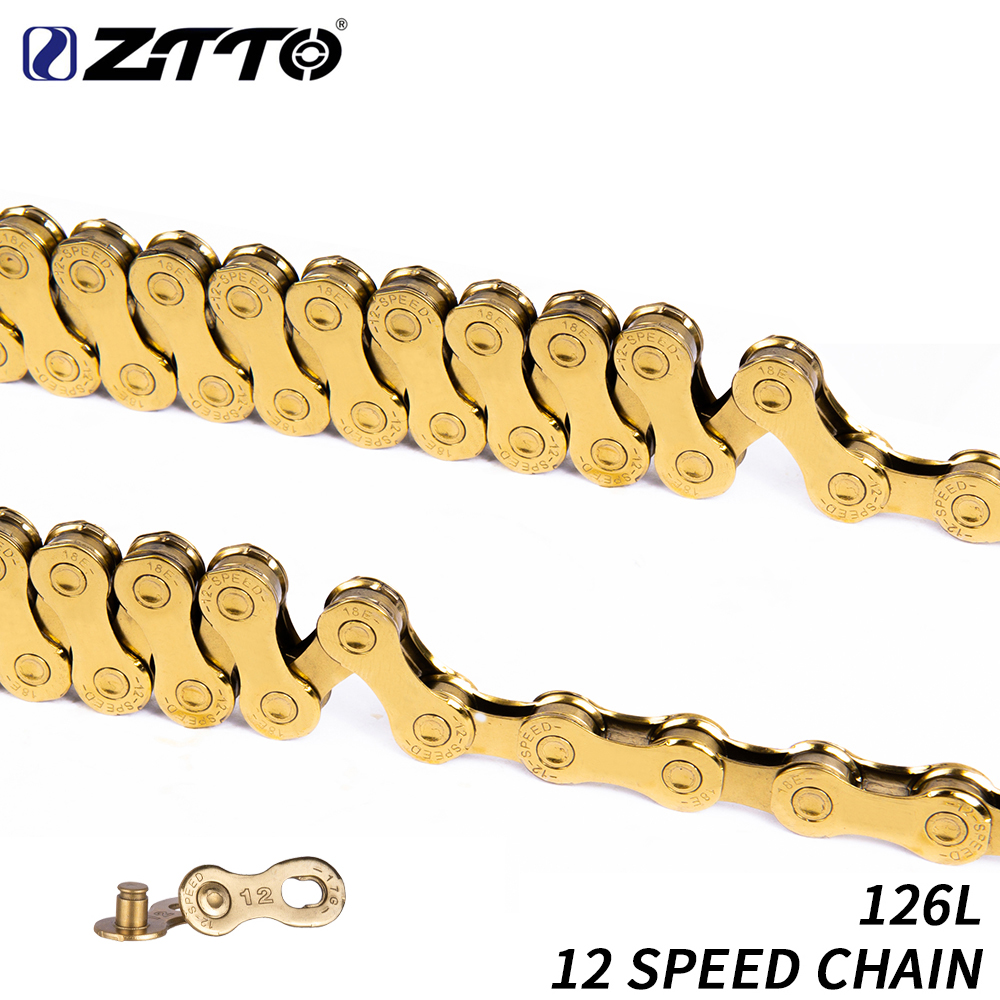 ZTTO 12 Speed Bike Chain MTB Mountain Road Bicycle 12s 24s Gold Golden Chains With Missing Link For Part K7 Bicycle PartsZTTO 12 Speed Bike Chain MTB Mountain Road Bicycle 12s 24s Gold Golden Chains With Missing Link For Part K7 Bicycle Parts