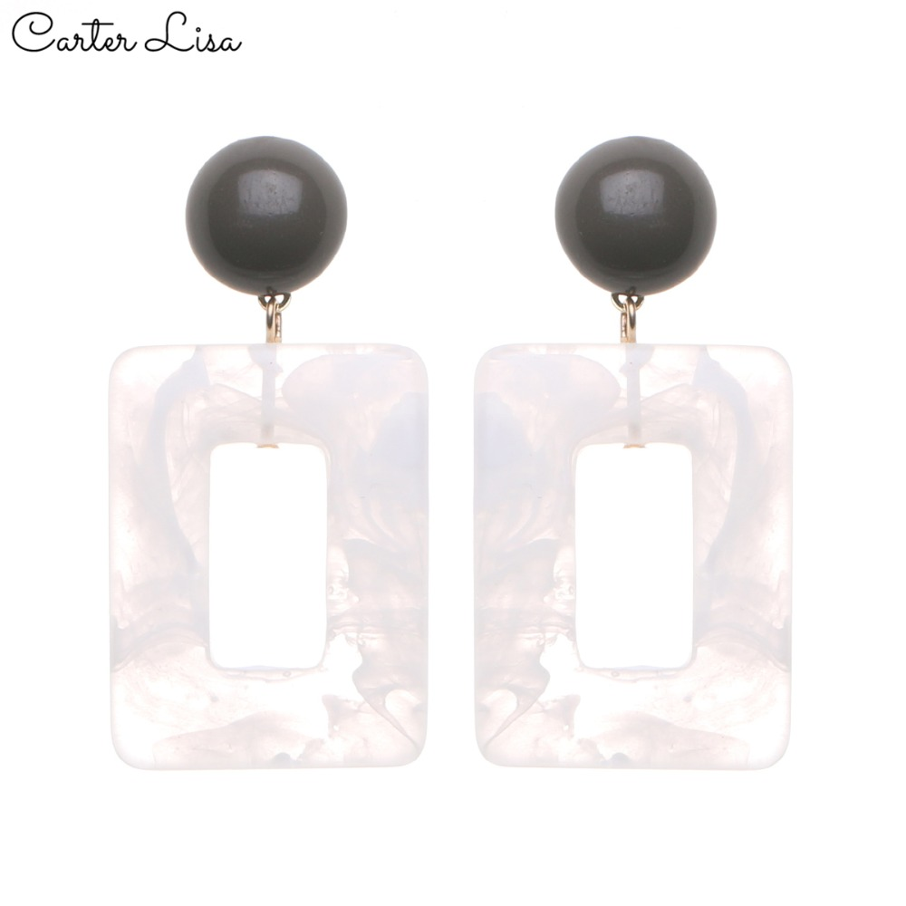 CARTER LISA 2019 White Acrylic Drop Dangle Earrings Women Statement Big Earrings Fashion Jewelry  Accessories Bijoux HDEA-017