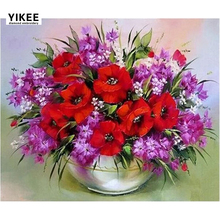 YIKEE Diamond Embroidery Flowers Poppies Sale Art Mosaic Crystal Handicraft Wall  b007