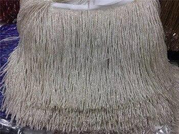 Silver  5 yards beaded trim, round bead rhinestone trimming for sash, headband, top quality wedding decoration JRB-11253