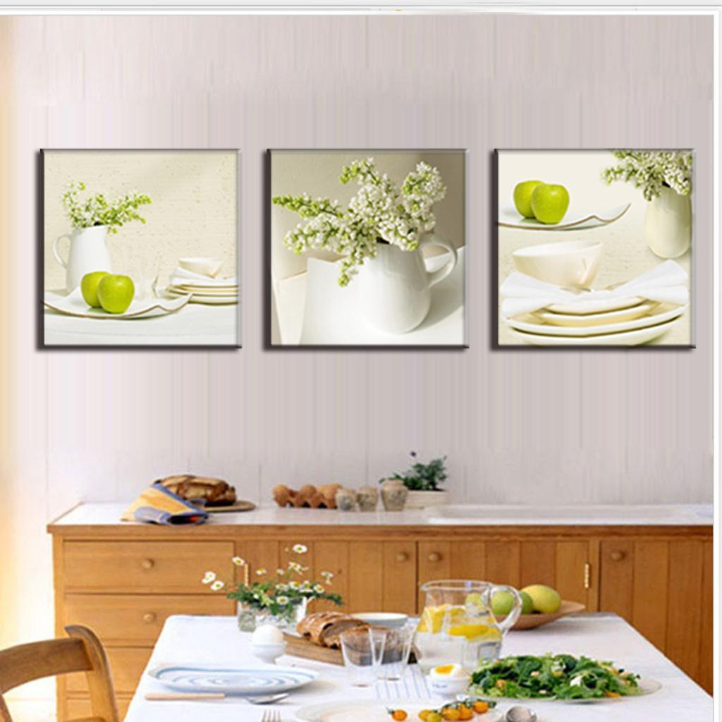 3 pieces modern spray canvas painting dinner plate with for Canvas dining