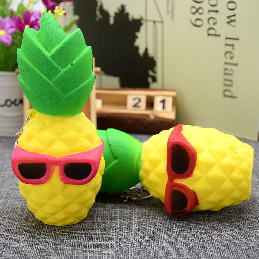 MUQGEW Squeeze Funny Anti Stress Pineapple Squishy Decompression Toy For Kids Easter Gift Phone Strap Speelgoed