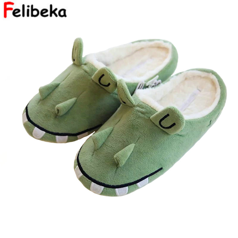 autumn and winter warm indoor Home crocodile thick slippers lovers lovely cotton slippers women shoes new autumn and winter warm men and women cotton padded lovers at house home slippers indoor shoes