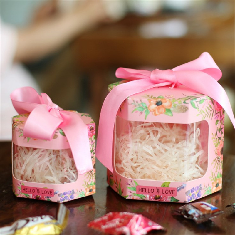 20 pcs/lot 2018 creative wedding candy box European hexagon candy box gift box wedding personalized custom wedding supplies
