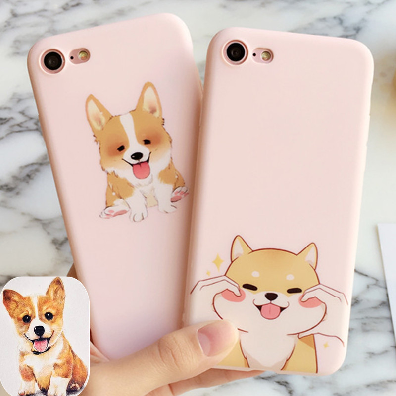 new arrival kawaii cute corgi pet cover for apple iphone 6 6s plus iPhone7 7P 8 8P soft  ...