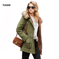 TUHAO Faux Fur Trim Hooded Faux Cashmere Winter Parka Long Style Women's Coat Slim Fift Drawstring Waist Casual Outerwear TP8818