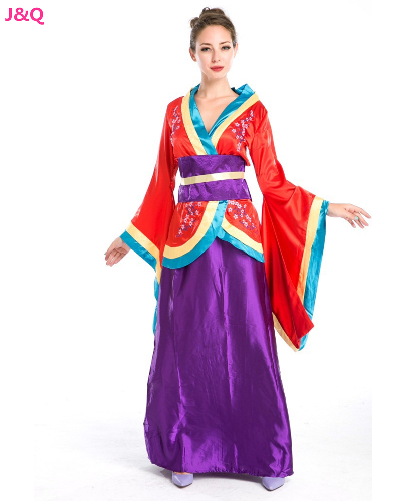 Japanese Geisha Role Playing Costumes Japanese Cherry Blossom Kimono Halloween Masquerade Fantasy Disfraces H157277(China