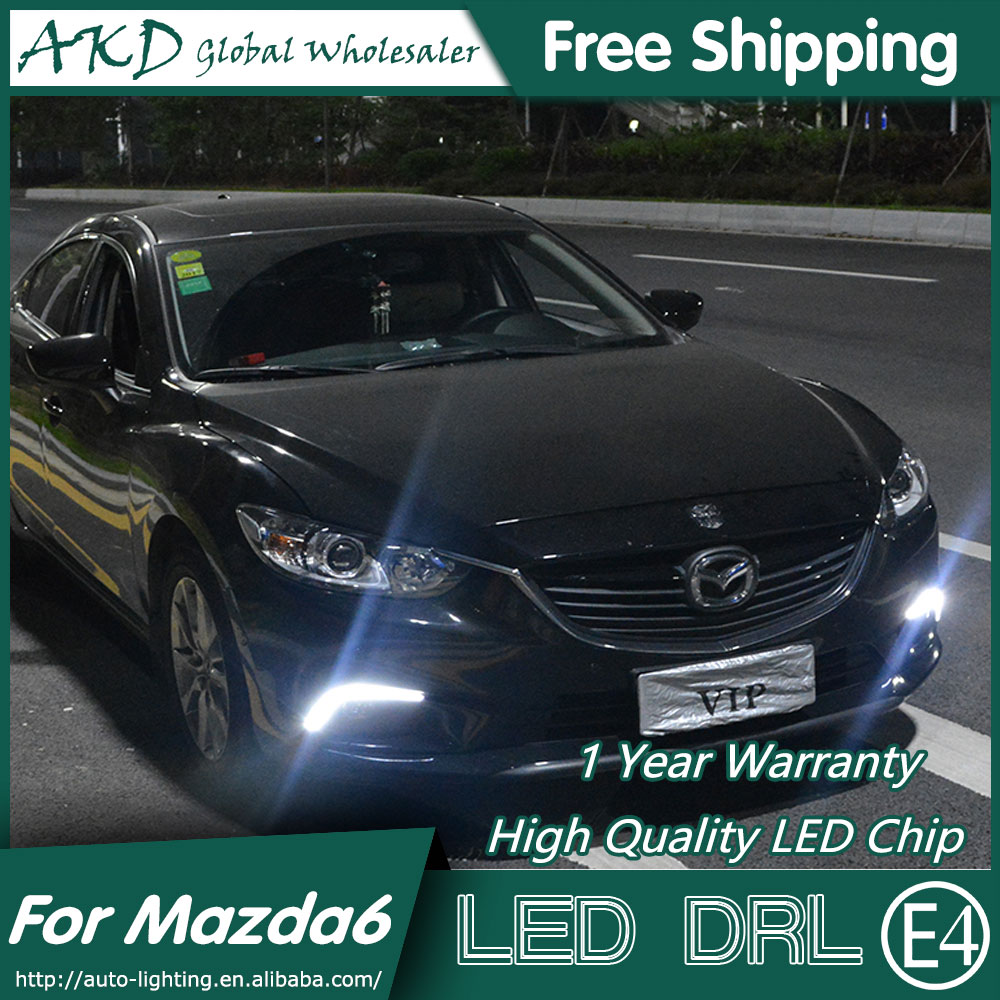 AKD Car Styling LED Fog Lamp for Mazda 6 DRL 2014-2015 Mazda6 Atenza COB Signal LED Running Light Fog Light Parking Accessories akd car styling for ford fiesta drl 2013 2014 cob signal drl led fog lamp daytime running light fog light parking accessories