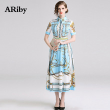 ARiby Women Dress Long Maxi Slim Printed 2019 New Summer Office Lady Fashion Elegant Short Sleeve A-Line Mid-Calf Dresses