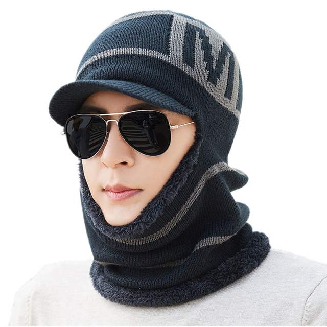 cba5d9b824e BINGYUANHAOXUAN Balaclava Men Knitted Hat Scarf Cap Neck Warmer Mask Winter  Hats For Women Skullies Beanies