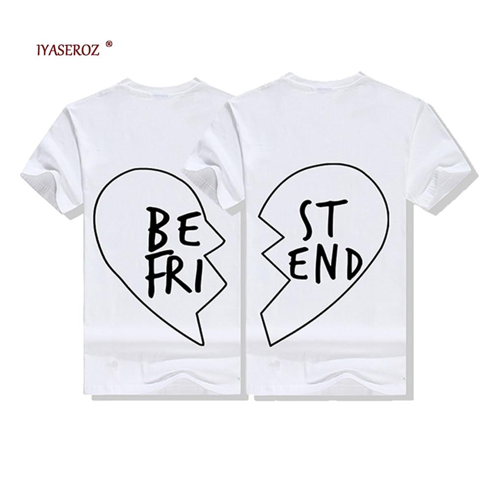 2018 New Summer Best Friends T Shirt Print Letter BE FRI ST END Women T-shirt Fashion Short Sleeve Women Clothing White Black