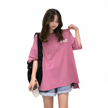 women short sleeve letter printing shirts  ladies cotton oversized tops summer 2019 girls wide leisure personalized long t shirt