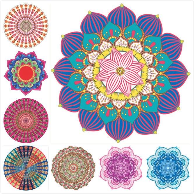 New Yoga Mat Glorious Lotus Flower Shape Indian Mandala Tapestry