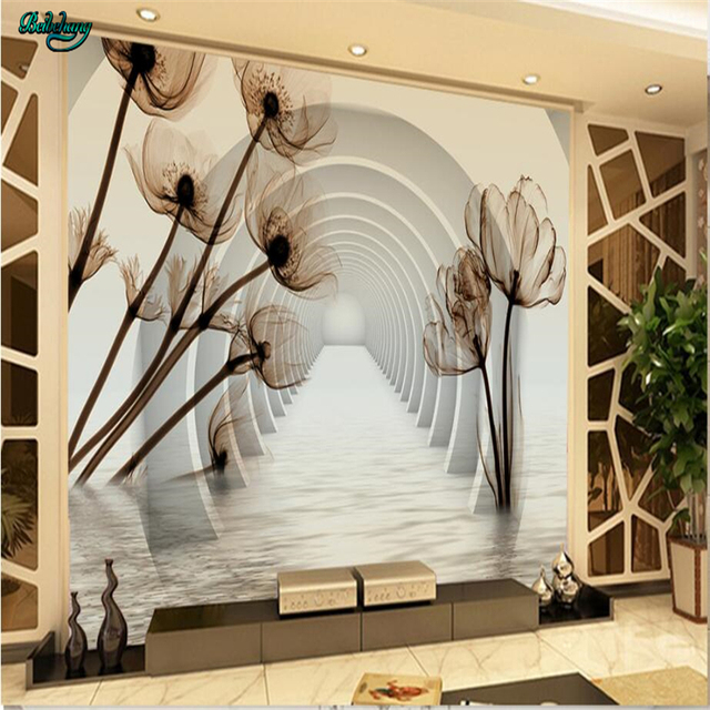 Beibehang Custom Wallpaper Stereo Transparent Flower Recall Tv