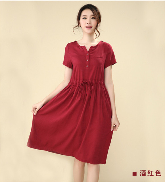 459cb217057dd Autumn Women Dress 2014 Solid Color Pleated Plus Size Maternity Clothes  Dress for Pregnant Lady Skirt