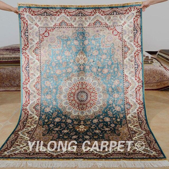 Yilong 4 X6 Handmade Carpet Blue Medallion Design Vantage Antique Persian Rugs Prices