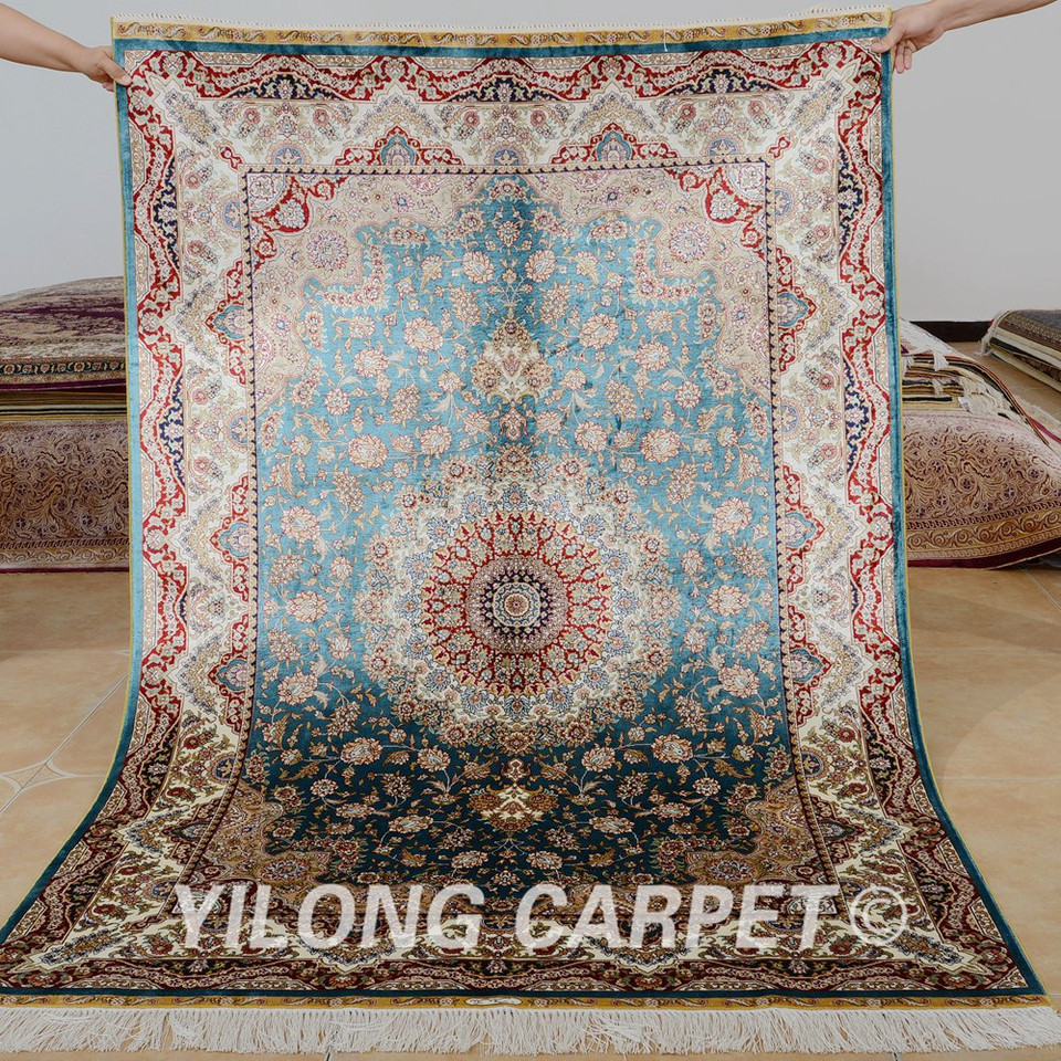 Handmade Carpet Blue Medallion