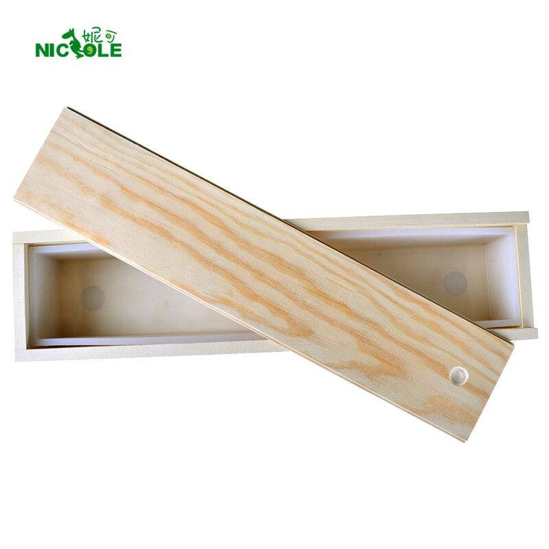 Molde longo do retângulo do molde do sabão do silicone com caixa de madeira sabonete feito à mão do redemoinho que faz a ferramenta