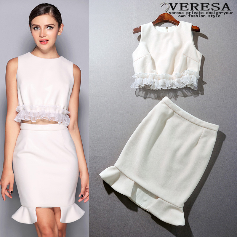 Online Shop Blue/White Skirt And Top Sets Formal Women High Waist ...