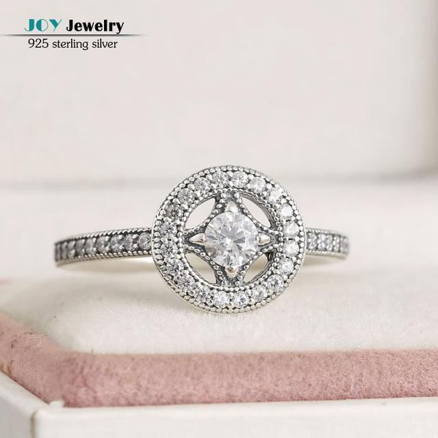 2016 Autumn 925 Sterling-Silver-Jewelry Vintage Allure Rings AAA CZ Crystal Engagement Wedding Rings For Women With Brand Logo