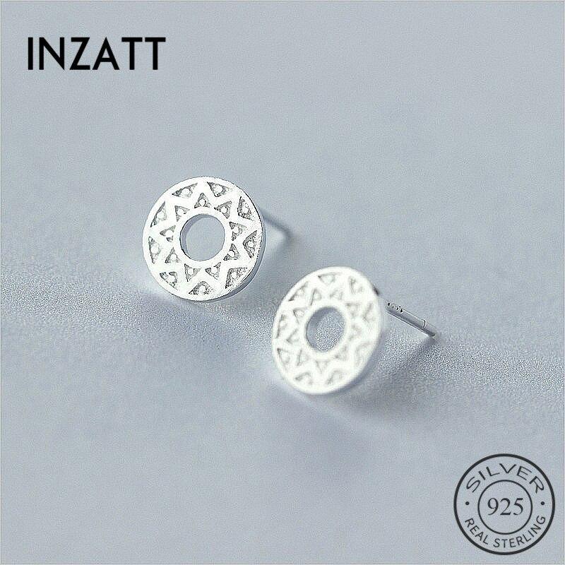 INZATT MInimalist Geometric Round Sunflower Stud Earrings For Men Trendy Earrings 925 Sterling Silver Fine Jewelry Accessories