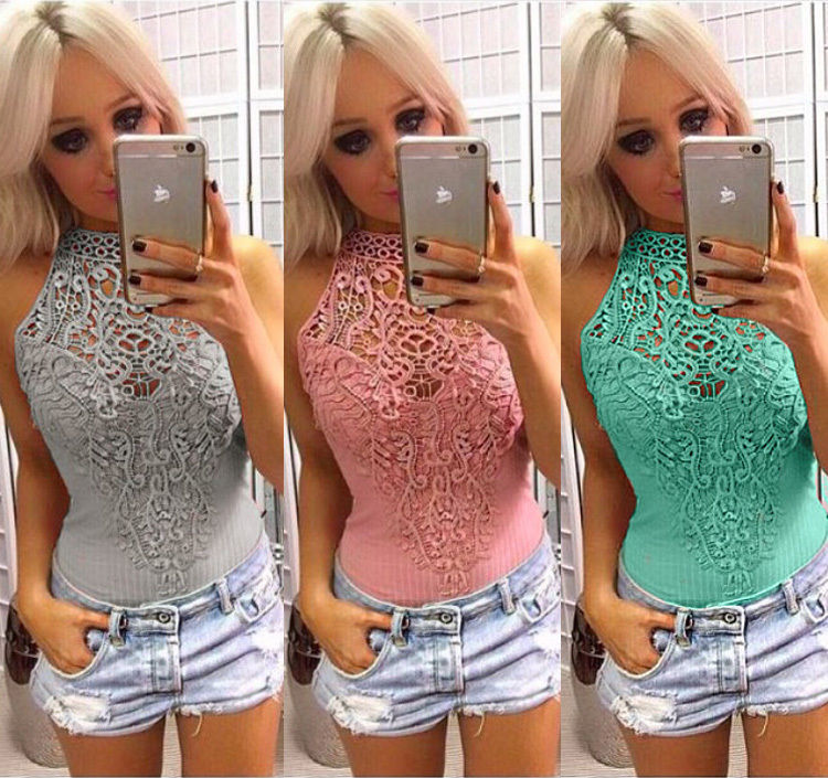 Sexy Women Bodycon Overalls Elegant Sleeveless Jumpsuit Bodysuit Female Hollow Out Crochet Lace Ribbed Slim Playsuit Rompers