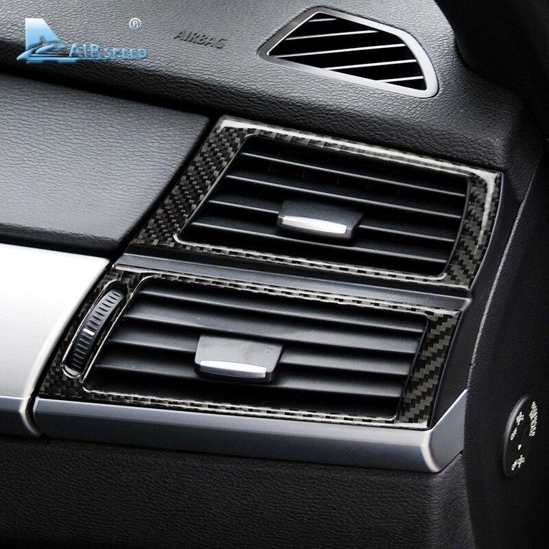 Скорость полета углеродного волокна сбоку кондиционер декоративная рамка выпускного отверстия Накладка для BMW E70 X5 E71 X6 автомобильные аксес...