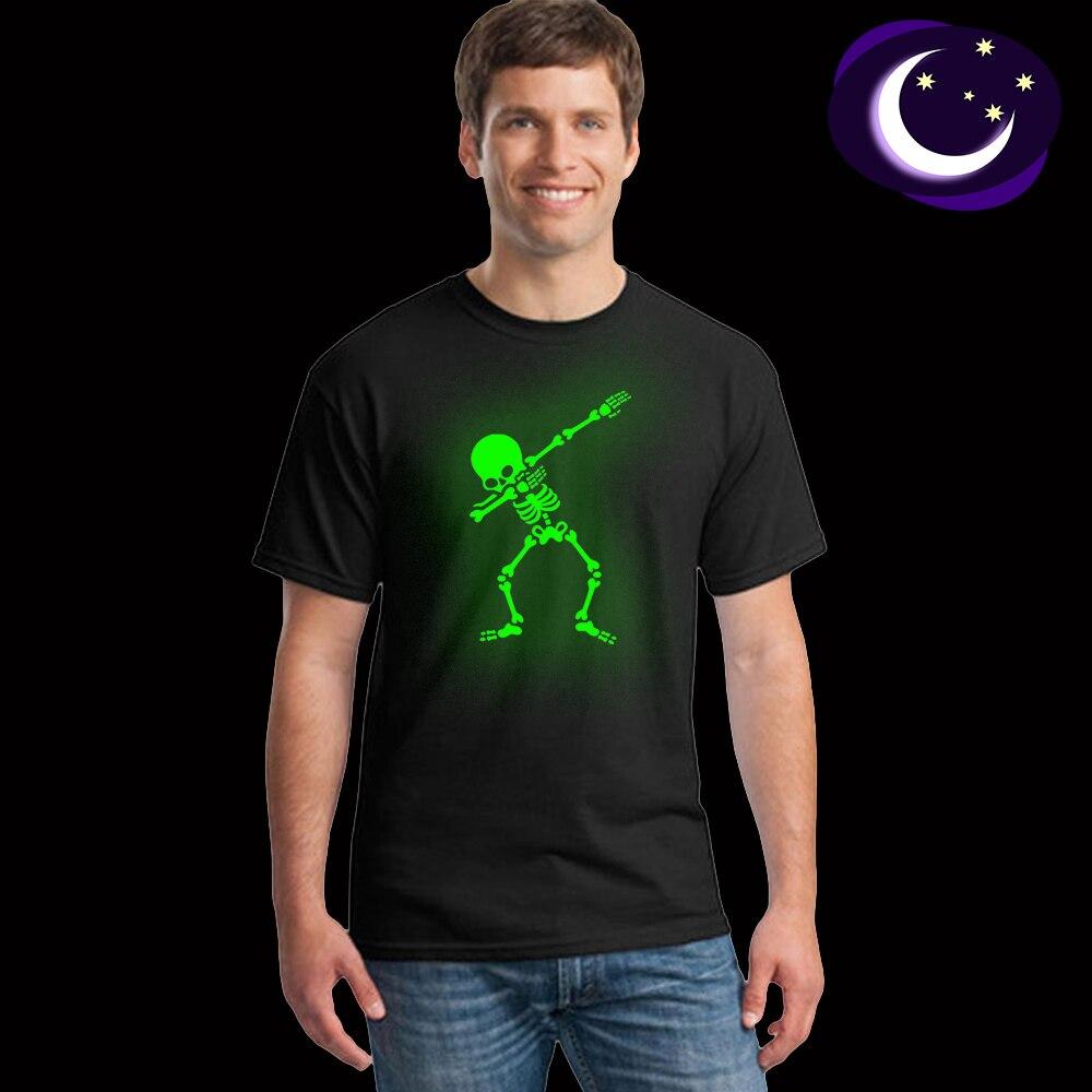 Hip Hop fluorescente Dabbing esqueleto hombres camiseta Punk negro camisas luminosas hombres Funny Skull camisetas brillan en Dark Mele camisetas