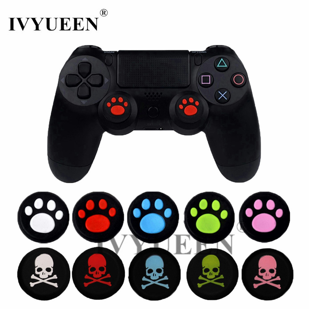IVYUEEN 2 pcs Skull Silicone Analog Thumb Stick Grips for PlayStation 4 PS4 Pro Slim Controllers Caps Cover for XBox One X / S