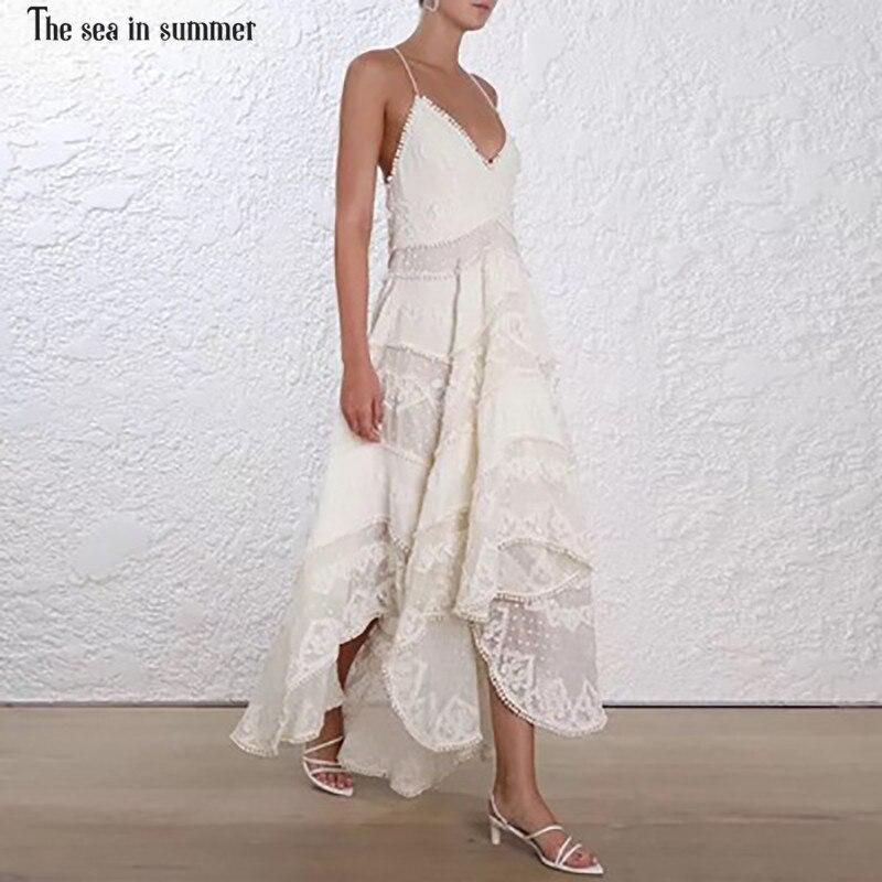 Sexy Mi Courroie Coton Beige De La Femmes Mer Été Gamme Luxe Mode Crochet En Robe Broderie Gaine Haut mollet Piste SzMVGpqU
