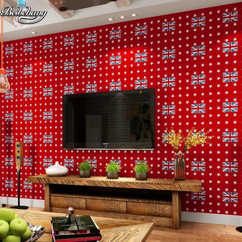 Beibehang personnalité rouge angleterre anglais mot drapeau rétro papier peint pur papier chaud salon style anglais chambre d'enfant