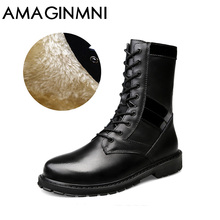 AMAGINMNI 2017 New Shoes men winter boots High Quality Men Boots Winter Snow Warm Casual Shoes Men Boots Leather Big size 37-50