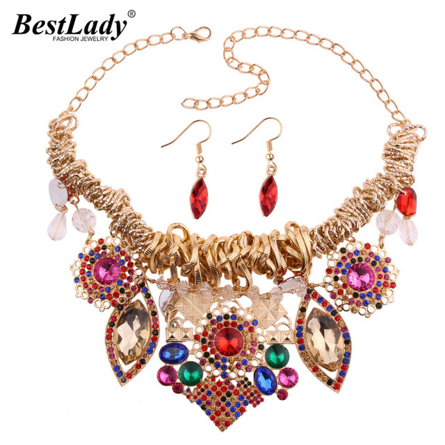Luxury Bohemian Crystal Jewelry Sets For Women Multicolored Maxi Necklace Collar Chokers Bijoux Dangle Earrings 5142
