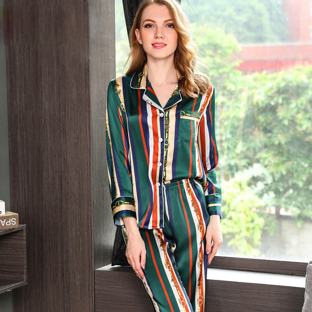 9c7022a4290c Fashion stripes 100% genuine silk pajama sets women long sleeve elegance  noble pyjamas mujer women silk sleepwear