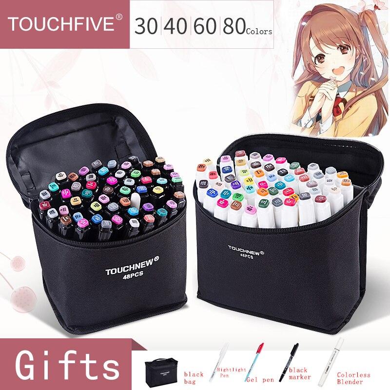 Touchfive 12/30/40/60/80/168 Farben Dual Kopf Kunst Marker Stift Fettige Alkoholische Skizze Marker Stift Kunst Liefert für Animation Manga
