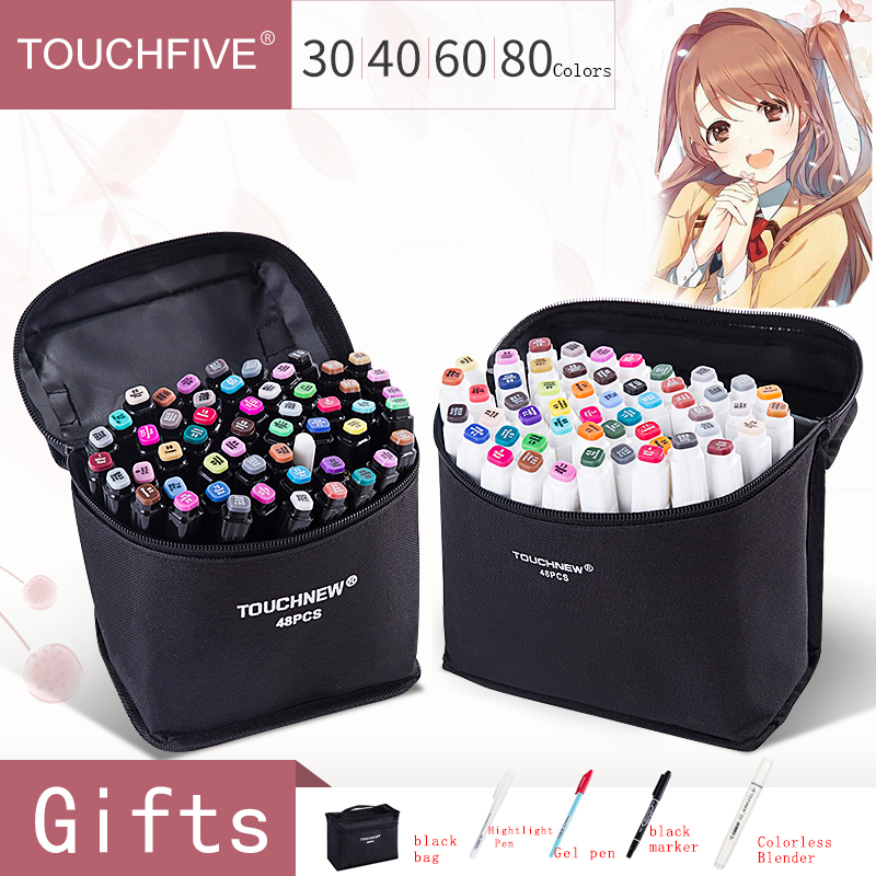 Touchfive 30/40/60/80Colors Dual Head Art Markers Pen Oily Alcoholic Sketch Marker Brush Pen Art Supplies For Animation Manga